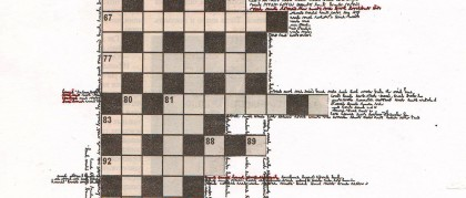 crossword1_2013_A4 paper, newspaper, gel pen, collage