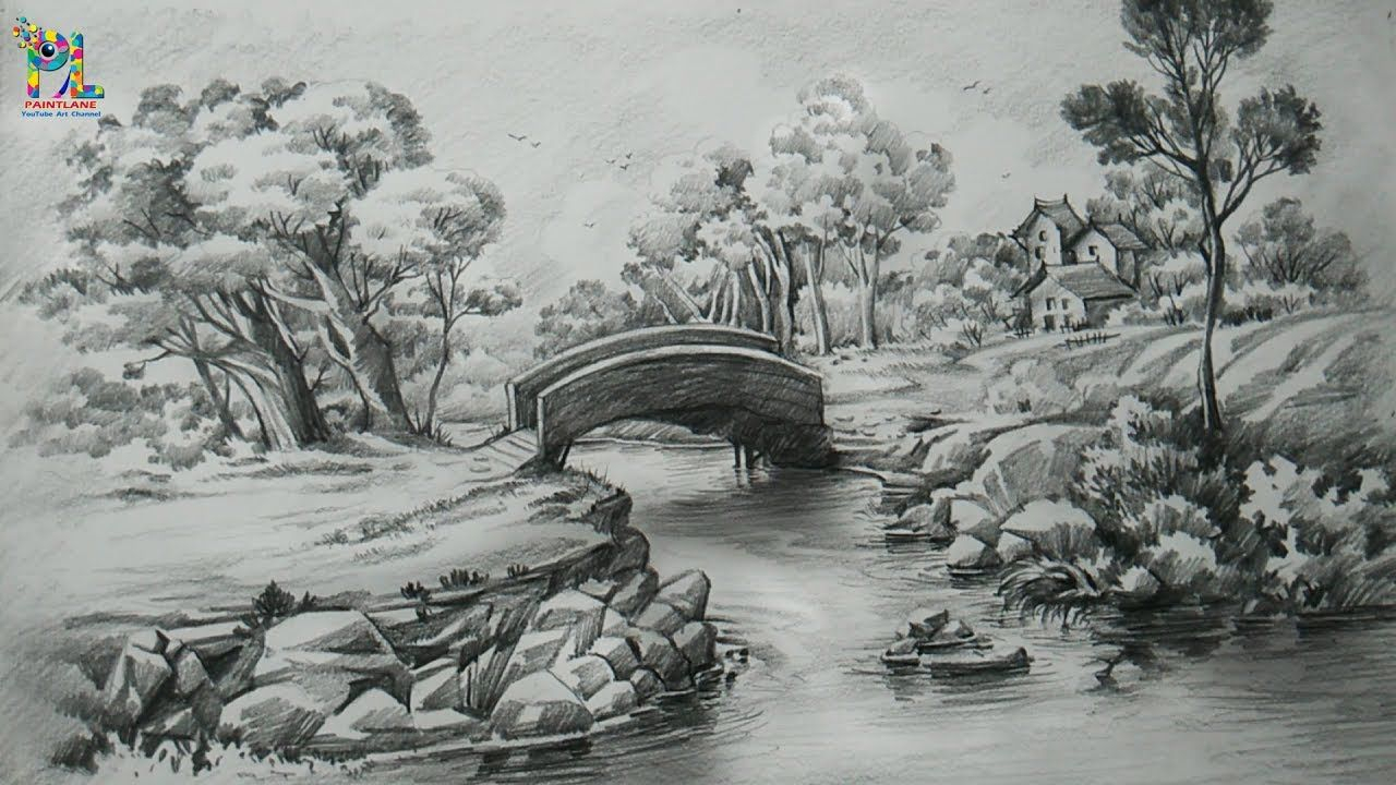 Pencil Shade Painting Landscape How To Draw A Easy Landscape With Pencil Strokes Pencil Shading