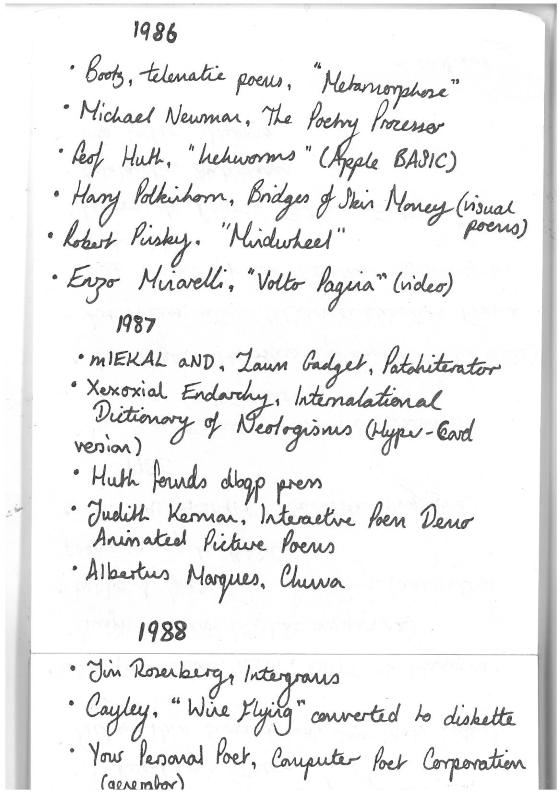 Poem Brut #82 - (Handwritten) 'A Chronology of Works in Digital Poetry, 1955-1995' -