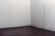 Cube, 1977, steel, string, lead, installation view at Studio Marconi, Milan, 280x280x280 cm