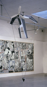 Tightrope, 1984, aluminium, steel, 350x180x160 cm, installation view of 1984 show at Camden Art Centre, London